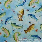 BonEful Fabric Cotton Quilt Blue Water Lake Fly Fish Cabin Trout Lure Bait SCRAP