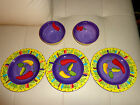LAURIE GATES MARDI GRAS Dinner Plates set of 3 & 2 Soup/Salad/Cereal bowls USED!