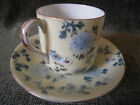 Vintage Porcelain Tea Cup & Saucer Yellow & Blue Daisy Chrysanthemum Flowers