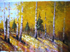 Art Oil painting Brich Forest Landscape on Canvas Signed 24x36
