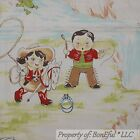 BonEful Fabric FQ Cotton Quilt Scenic Large Print Toile Cow*boy Girl Horse Bunny