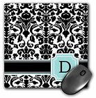 3dRose Letter D Personal Monogrammed Mint Blue Black and White Damask Pattern, C