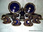 VG GERMAN BAVARIA LINDNER KUEPS HP PORCELN COBALT BLUE GILT TEA DESSERT SET RARE