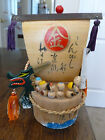 Seven Immortals Miniature Figurines - Painted Wood - 7 Figures in a Dragon Boat