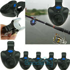 5x Electronic Fish Bite Fishing Sound Bell Alarm Alert Clip On Rod W LED Light