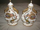 Pair of Antique ROYAL BONN HAND PAINTED SCENE VASE VASES URN Gold Leaf