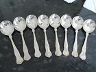 PREOWNED SILVER PLATED KINGS PAT 8  SOUP SPOONS  JUST UNDER 7 INCH  BY POSTON