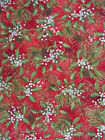 WOODLAND CHRISTMAS HOLLY & PINE CONES FABRIC  RED ROOSTER  35 INCHES