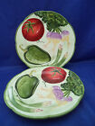 NWT 2 Salad Accent Plates Fitz Floyd LE MARCHE Vegetables Green Trim 8.5