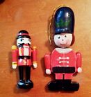 Vintage Lot Pair of Two Wooden Toy Soldier Ornaments Christmas Tree Holiday