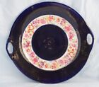Antique Cake Plate - Cobalt Blue, Band of Flowers, Gold Floral Highlights