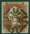 Plate 11 1841 1d red brown lettered OB 4 fine margins and a crisp complete