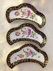 ANTIQUE 3 CRESCENT SHAPE PORCELAIN  DISHES COBALT BLUE GOLD GILT HP ART FLOWERS