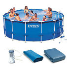 Intex 15 Foot x 48 Inch Metal Frame Above Ground Swimming Pool w 1000 GPH Pump