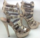 Justfab Just Fab Womens Aster Double Ankle Strap Caged Stiletto Heel Size 9 Gold