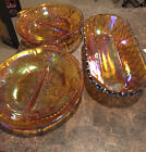 2 Vintage Amber Carnival Glass Divided Candy Dishes With Handle
