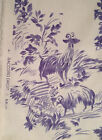 TEXUNION PEASANT SCENES TOILE FRENCH COUNTRY DECORATOR FABRIC Ivory Blue 3 yd