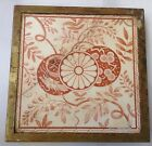 Vintage Victorian Minton Thin Works Stoke On Trent Tile Red/White Brass Frame