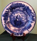 Wood & Sons Royal Semi-Porcelain Flow Blue Cobalt Plate With William Shakespeare