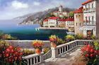 Italian Town Mediterranean Sea Village Homes Boats Stretched 24X36 Oil Painting