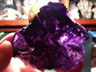 Deep Purple Fluorite With 2 Calcite Crystals-3