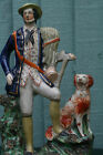 SUPERB MID 19thC STAFFORDSHIRE MALE FARMHAND FIGURE WITH SEATED DOG c1860s
