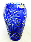 Bohemia Lead Crystal Hand Cut Blue Vase, Made in Germany, 7.75