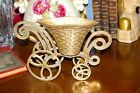 Vtg. BRASS FLOWER CART VASE~WHEELS ROLL-6