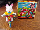 RABBIT ON BIKE TIN LITHO MECHANICAL WIND UP PLASTIC BUNNY ORIGINAL BOX JAPAN