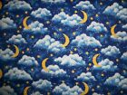 Fabric 32 inches by 44 inches Dark blue sky Moons and Stars sparkly