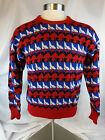 VINTAGE SERAC SWEATER MENS LARGE MULTI COLOR SKI SNOW WINTER RED WHITE BLUE