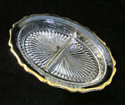 Vintage Jeannette Clear Glass Oval Divided Relish Dish Bowl Gold Trim Scalloped