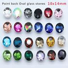 30 Vintage Rhinestone Faceted Pointed Foiled Back Glass Jewels Oval 10x14mm Y pk