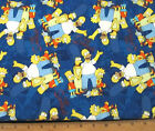 1 yard of THE SIMPSONS BLUE FAMILY PORTRAIT Cotton Fabric cartoon by Camelot