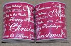 2 Rolls Linen Wire Ribbon Cranberry Wired Merry Christmas 4