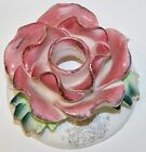 Vintage Commodore Japan Pink Rose Candle Holder Shabby Pink Cottage Chic
