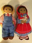 African American Boy and Girl Farmer Pillow Dolls Set of 2