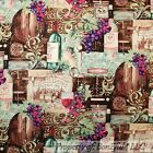 BonEful FABRIC FQ Cotton Quilt Wine Tan Purple Grape Gold Glass Vineyard Barrel