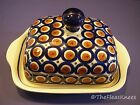 BOLESLAWIEC Polish Pottery Butter Dish Navy Blue Brown Double Wide