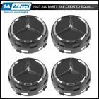 OEM Raised Chrome  Black Wheel Center Cap Set of 4 for Mercedes Benz