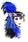 Clay Art Ceramic Mask Sequins w/ Feathers Navy Royal Blue Black 19