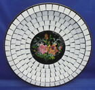 Centerpiece Display Plate Bowl Denmark Mosaic Tiles Reverse Painted Flowers XX