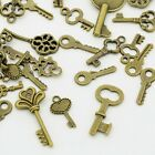 50 Mixed Lot Antique Brass KEY CHARMS Assorted Sizes 15 30mm w loop SteamPunk