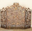 French Tuscan Ornate Acanthus Leaf Old World Antique Gold Iron Fireplace Screen