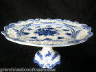 Vintage Cobalt Blue And White Cracker Barrel Pedestal Cake Stand Pierced Plate