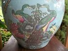 ANTIQUE 19TH C CHINESE PORCELAIN FAMILLE ROSE FISH BOWL PLANTER JARDINERE VASE