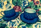 Pair Denby Discontinued Midnight Blue Orange 4 Pc. Cups Saucers Fine Stoneware
