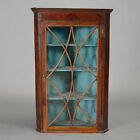 Georgian Mahogany Corner Cabinet with Turquoise Painted Interior Lot 441