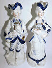 Large Pair Vintage Hand Decorated Porcelain 18th Century Style Courting Couple