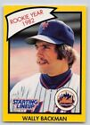 1990  WALLY BACKMAN - Kenner Starting Lineup Card - New York Mets - (Yellow)